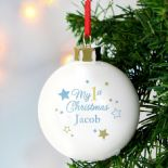 First Christmas ceramic Bauble Blue PERSONALISED, ref CCB3
